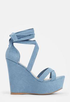 Dahlia Wedge in Dusty Blue - Get great deals at JustFab Wedding Wedges, Wedding Shoes Bride, Blue Wedding Shoes, Bridal Shoes, Lace Up Wedges, Blue Hole, Dusty Blue, Blue Wedge Shoes, Vestidos