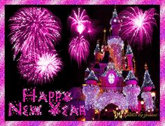 happy new year glitter graphics | Pink Glitter Happy New Year Disney Land