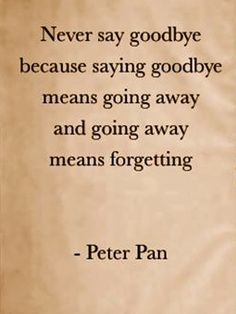Never say goodbye because saying goodbye means going away and going away means forgetting  -  Peter Pan