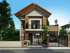 is a Two Story House Plan with 3 bedrooms, 2 baths and 1 garage.] is a Two Story House Plan with 3 bedrooms, 2 baths and 1 garage. Two Story House Design, 2 Storey House Design, Duplex House Design, Simple House Design, Modern House Design, Modern Zen House, 3 Storey House, Storey Homes, Two Storey House Plans