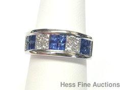 Hi Quality Signed Platinum Invisible Set Princess Diamond Nat Sapphire Band Ring #Unknown #Band