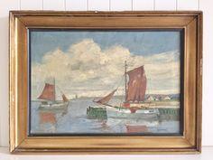 Antique Danish Oil Painting of a port scene. Oil on Canvas. European Paintings, Danish, Oil On Canvas, Scene, Antiques, Art, Antiquities, Art Background, Antique