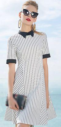 Work Lapel Coller Stripe Stitching High Waist A-Line Skater Dress