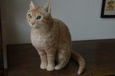 needle felted ginger cat sitting