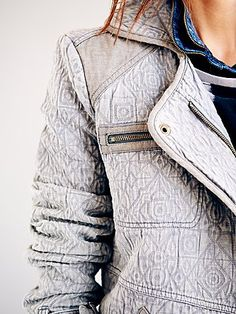 Slouched and Quilted Motorcycle Jacket