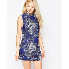 Motel Pearl Dress With High Neck In Paisley Print (61 CAD) ❤ liked on Polyvore featuring dresses, huge paisley navy, high neck dress, navy blue dress, white print dress, navy dress and motel dresses