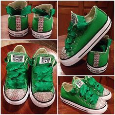 Green bling Converse with Green laces by Munchkenzz on Etsy -Kinleys flower girl shoes Flower Girl Shoes, Girls Shoes, Craft Beer Wedding, Bling Converse, Green Lace, Vans, Trending Outfits, Unique Jewelry, Sneakers