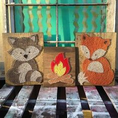 $149 Etsy Perfect Baby Shower Gift!! Raccoon String Art Animals by the Fire Woodland by NailedItDesign