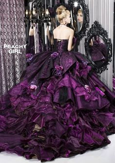 Peachy Girl - wedding dress, purple colored dress, [ball gown] image from: Mai Collection [collection.mai-jp.net]