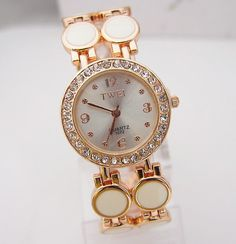 Luxury Vogue Rose Gold Tone Crystal Rhinestone Watch Women Ladies Fashion Dress Quartz Wrist Watch TW022