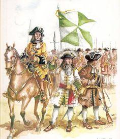 """ALMANSA 1707 (3) - Tropes portugueses (E. Martín). D'esquerra a dreta: soldat de """"Cavalharia das Guardas del General""""; sergent major del """"Terço Velho de Setubal""""; fuseller del """"Terço Novo de Chaves"""".   https://www.facebook.com/432823373514930/photos/a.475053732625227.1073741831.432823373514930/461616870635580/?type=1"""