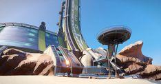 Science fiction lab in desert
