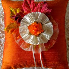 New for Fall,2016 Wedding Season. Our Fall Leaves Ring Pillow. The pillow features velvet leaves enhanced with glittering gold, orange and red cross-dyed silk dupioni and a handmade flower made from gold enhanced organza and light ivory crushed satin.