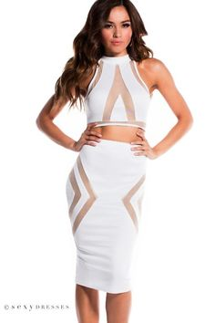 Pure White Halter Crop Top 2 Piece Dress with Sheer Nude Mesh Cut Outs Vegas Dresses, Club Dresses, Sexy Dresses, Midi Dresses, Crop Top Dress, Halter Crop Top, All White Party Dresses, White Dress, Nude Dress