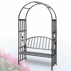 Cette arche de jardin est idéale pour votre jardin. Elle peut servir de tuteur pour fleurs grimpantes et de chaise de jardin en même temps. Un bac est intégré avec cette arche