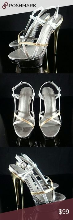Adrienne Maloof Metallic Heels 6M - New Brand new, never worn, minor scratches on bottom of shoe and side edges. Heel 6 inches, front platform 1.75 inches. Does not ship with box. Adrienne Maloof  Shoes Sandals
