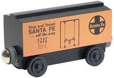 Santa Fe Orange Boxcar - Whittle Shortline Railroad | Handcrafted Wooden Trains