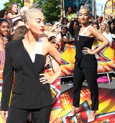 Rita Ora Rocks a Quirky One-Sleeved Suit with Christian Louboutin Pumps