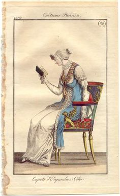 Reading. At-home dress with organdy cap, French, 1803.