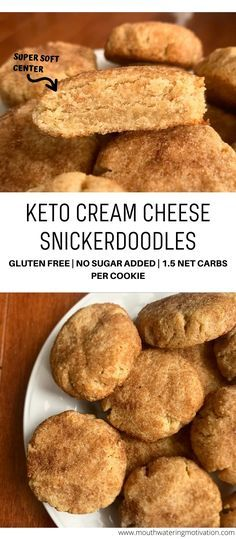 These keto cream cheese snickerdoodles are super soft in the middle with a slight browning to the outside Rolled in a delicious sweet sugary coating Super easy to make ketocookies lowcarbcookies ketosnickerdoodles lowcarbsnickerdoodles Keto Foods, Ketogenic Recipes, Keto Snacks, Ketogenic Diet, Low Carb Sweets, Low Carb Desserts, Low Carb Recipes, Dessert Recipes, Easy Keto Dessert