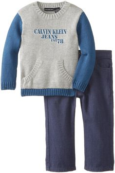 Calvin Klein Baby Boys' Gray Blue #Sweater and Pants, Gray, 12 Months