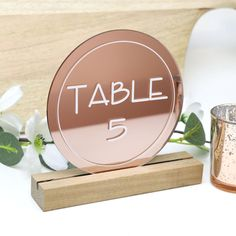 Rose Gold Round Table Number - Acrylic with Timber Base - Printed Wedding Table Decoration - Cafe Restaurant Gold Wedding Decorations, Wedding Table Numbers, Table Decorations, Wedding Tables, Gift Table Signs, Acrylic Table, Guest Book Sign, Groomsman Gifts, Celebrity Weddings