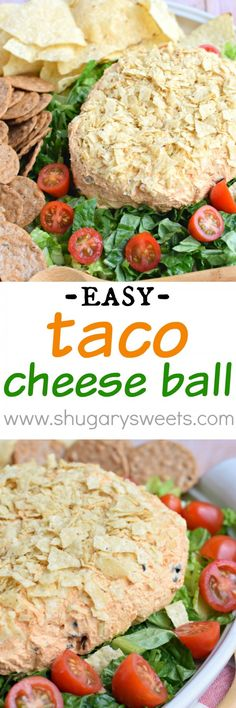 Easy Taco Cheese ball recipe is perfect for game day or potlucks! Roll the zesty cheese ball in crushed tortilla chips for an extra crunch!