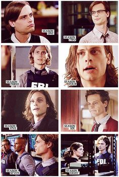 Spencer Reid (Matthew Gray Gubler) throughout the seasons of Criminal Minds. I think he looks better with short hair. Dr Spencer Reid, Dr Reid, Spencer Reid Criminal Minds, Criminal Minds Cast, Matthew Gray Gubler, Matthew Grey, Lito Rodriguez, Behavioral Analysis Unit, Derek Morgan