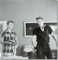 Elvis and Sam Phillips at Sun Studios, 1956