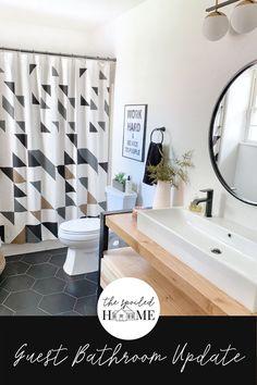 Sandi's Guest Bathroom Makeover Bathroom Makeovers, Budget Bathroom, Bathroom Renovations, Home Remodeling, Bohemian Bathroom, Modern Bathroom, Small Bathroom, Bathrooms, Bathroom Inspiration