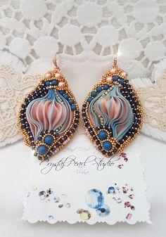 Gold Shibori Earrings With Swarovski Pearls Swarovski