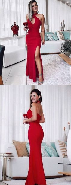 Halter Red Mermaid Backless Sexy Slit Prom Dresses, Shop plus-sized prom dresses for curvy figures and plus-size party dresses. Ball gowns for prom in plus sizes and short plus-sized prom dresses for Tulle Prom Dress, Mermaid Prom Dresses, Bridesmaid Dresses, Homecoming Dresses, Sexy Dresses, Evening Dresses, Party Dresses, Long Dresses, Backless Dresses