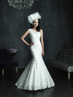 Cap Sleeve One-shoulder Lace Appliques Mermaid Wedding Dresses