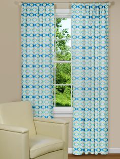 Curtain Panels in Blue and Green - Hourglass Design