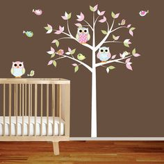 Amazing pattern leaf tree with owls & birds wall decal