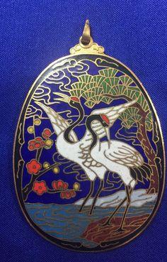 Vintage Cloisonne Enamel Cranes Birds Women's Pendant Costume Jewelry #Pendant