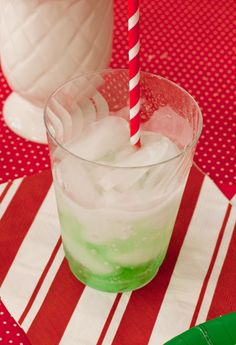 In clear plastic cups, put a drop of red or green food coloring and let dry overnight.  Then bring cups to the table filled with ice and let the kids watch as you pour in Sprite or water and watch their excitement as the drink turns to red or green.  Just a little bit of Christmas Magic!