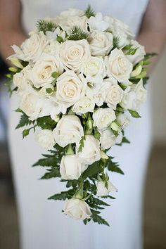 Elegant Cascading Bridal Bouquet Showcasing: White Roses, White Freesia, Evergreen & Green Leather Leaf Fern>>>>