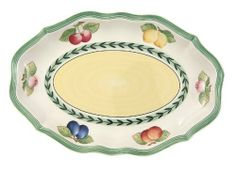 Villeroy & Boch French Garden Fleurence Pickle Dish/Gravy Stand by Villeroy & Boch. $44.73. Crafted from vitrified porcelain for strength and durability. Chip-resistant; oven-, dishwasher- and microwave-safe. Fruit motif with laurel leaf edging. 9-1/2-inch oval dish. Full line of coordinating tableware and serving pieces also available. Amazon.com                French Garden Fleurence dinnerware creates a look of informal elegance to complement any occasion or cuisine. Laurel l...