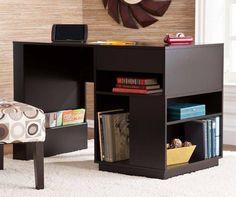 Torres Black Finish Office Desk with Shelves  http://www.ubuyfurniture.com/torres-desk-black.html