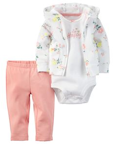 Baby Girl 3-Piece Babysoft Cardigan Set | Carters.com