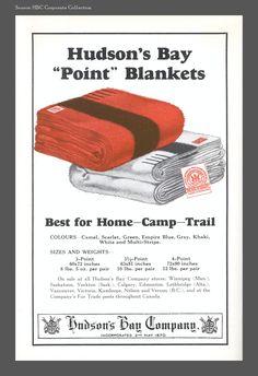 Hbc Heritage | Print Advertising  Advertisement for HBC point blankets, The Beaver magazine, June 1928 Bay Point, I Am Canadian, Hudson Bay, Print Advertising, Vintage Ads, Blankets, Nostalgia, June, Husband