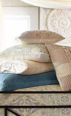 Shades of ivory convene in our highly textured Moroccan Wedding Pillow.