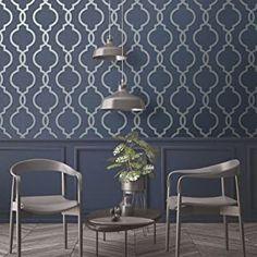 Amazon.co.uk : navy wallpaper Blue Grey Wallpaper, Silver Wallpaper, Feature Wallpaper, Navy Bedroom Wallpaper, Dining Room Wallpaper, Kitchen Wallpaper, Glitter Wallpaper, Modern Wallpaper, Navy Living Rooms