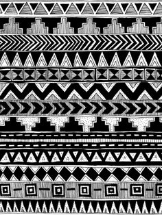 Busy Black and White Aztec Pattern Art Print