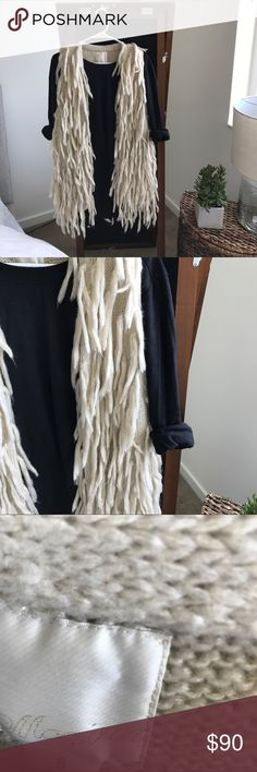 Anthropologie Fringe Wool Vest Cringing slightly as i post this gem! Was hoping to get a chance to wear it, but we've moved to Miami and there is just no way now 😩. Hoping someone else can treasure it! Fits fine for a S or a M. ** the FP top underneath is for sale in a separate post. Anthropologie Jackets & Coats Vests