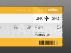 Air Ticket designed by Tobia Crivellari. Travel Tickets, Air Tickets, Ticket Design, Jfk, Boarding Pass, Coupon, Label, Graphic Design, Inspiration