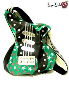 Green Stars Guitar Music Shaped Purse Shoulder Bag Goth