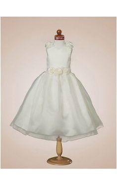Ball Gown V-neck Tea-length Satin Flower Girl Dress