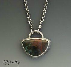 Silver Necklace, Ocean Jasper Necklace, Silver Pendant, Jasper Pendant, Metalsmith Jewelry, Handmade Necklace by LjBjewelry on Etsy https://www.etsy.com/listing/278931860/silver-necklace-ocean-jasper-necklace